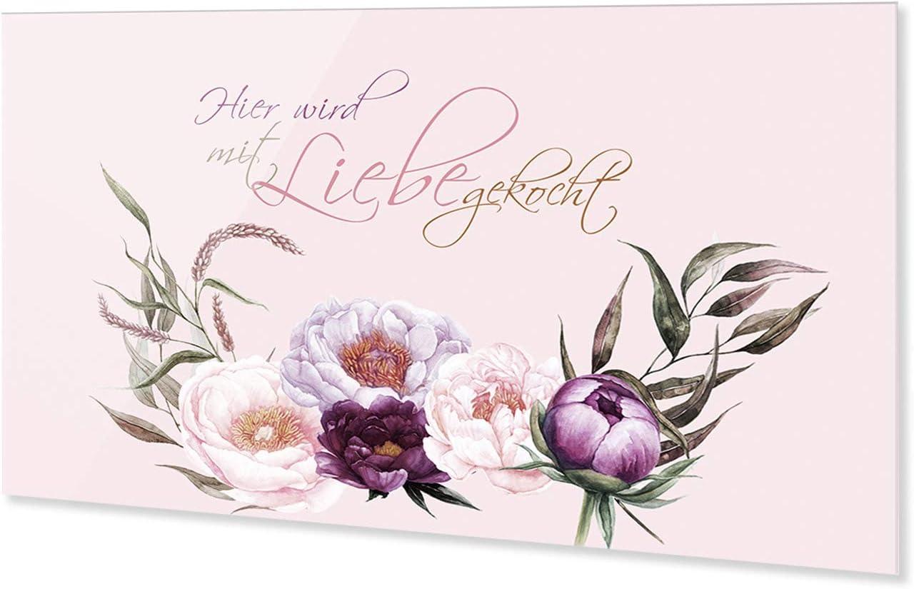 GRAZDesign Glas K/üchenr/ückwand R/ückwand aus ESG Glas // 60x40cm Spritzschutz K/üche Pfingstrosen rosa violett Nischenr/ückwand Herd Wand