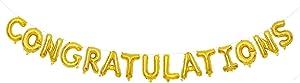 Congratulations Balloon Banner 15 Alphabet Characters Foil Letters 16