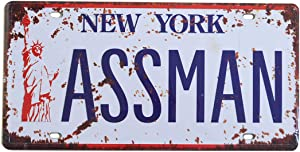 1st warehouse Seinfeld Cosmo Kramer Assman Embossed License Plate, TV Replica Prop Metal Stamped New York Number Tag