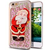 iPhone 5S Case,Little Sky (TM) iPhone 5 Case,iPhone 5S Liquid Case,Designed Flowing Liquid Floating Bling Glitter Sparkle Christmas Santa Claus Love Heart Hard Case for Apple iPhone 5S/ iPhone 5
