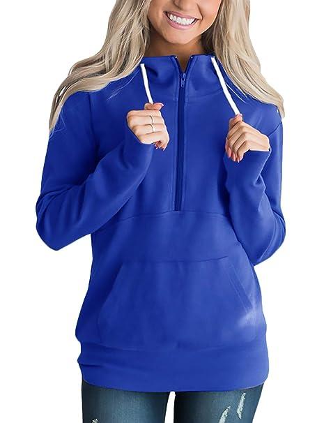 Adelina Sweatshirts Mujer Primavera Casuales Otoño con Cremallera Manga Largo Pullover Camisas Simplemente Ropa Casuales Anchos Fashion Sudaderas Sport ...
