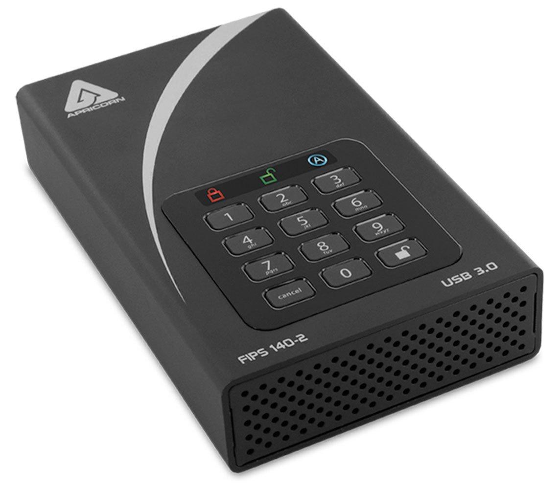 Apricorn Aegis Padlock 12TB FIPS 140-2 Validated 256-Bit Encrypted Hard Drive (ADT-3PL256F-12TB)