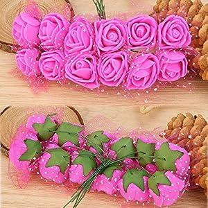 CANAFA-Home & Kitchen Artificial Flowers 12 pc/lot Simulation Mini Artificial Flower Foam Flower Ball DIY Decoration 14