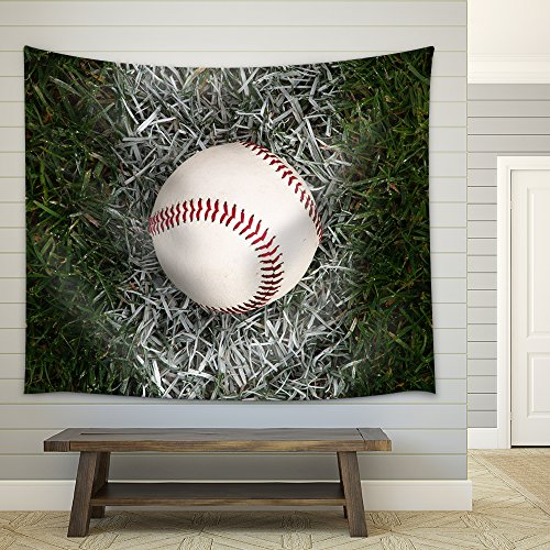 a Close Up of a Baseball Sitting on The Foul Line Fabric Wall