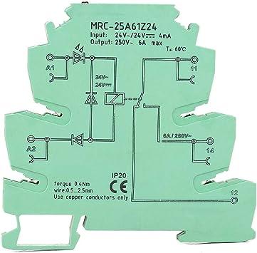 MRC-25A61Z24 PLC-Relaismodul f/ür elektromagnetische Kontakte PLC-Schnittstellenrelais Eingang 24 VDC