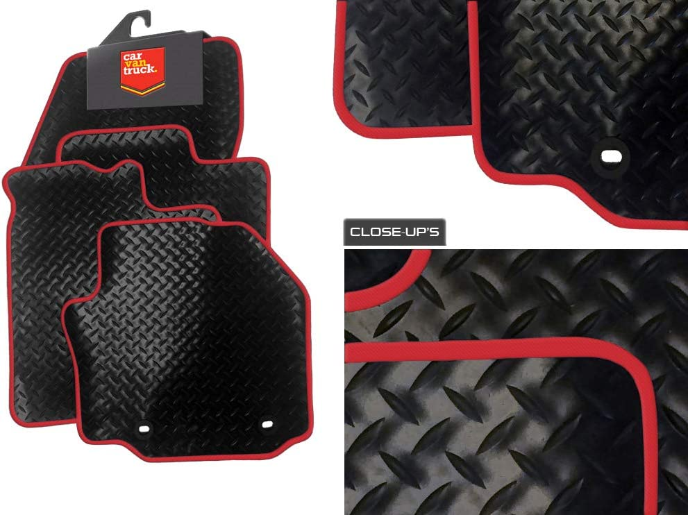 BLACK /& RED TRIM CAR FLOOR MATS 12 on FIAT PUNTO
