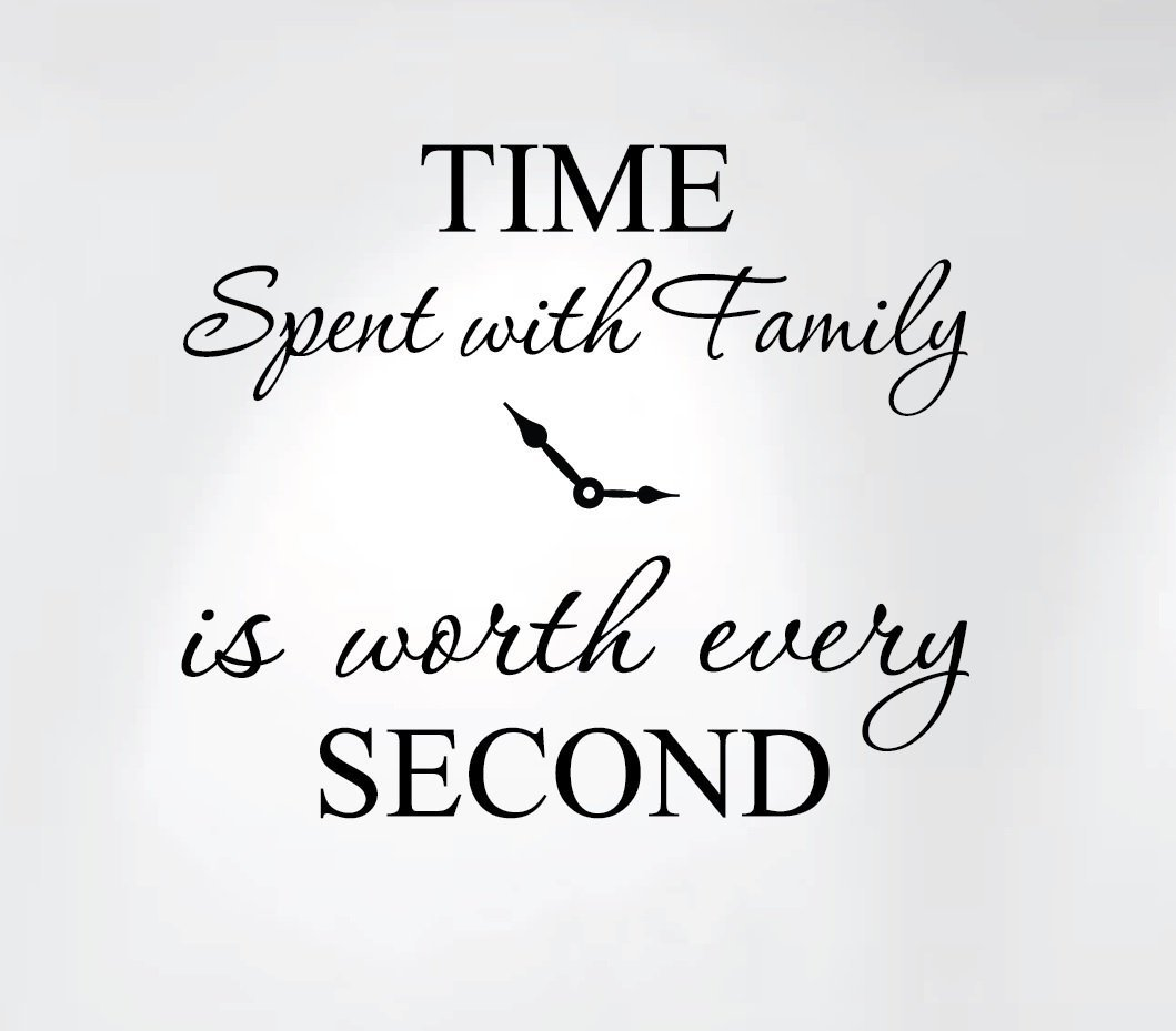Innovative Stencils 1249 Black Time Spent with Family is Worth Every Second Home Wall Decal Sticker Clock