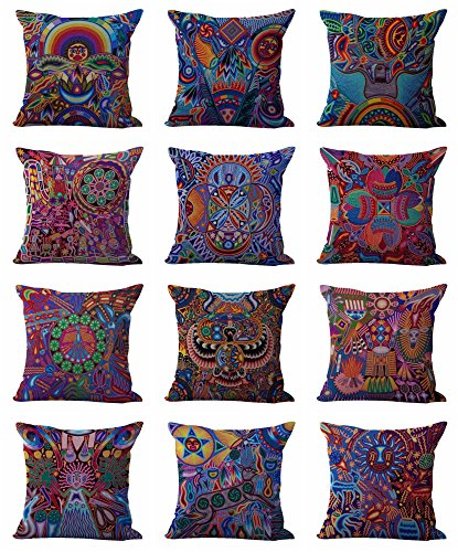 set of 10 cushion covers Mexican folk art print decoration home interior Colorful Mexican Folk Art