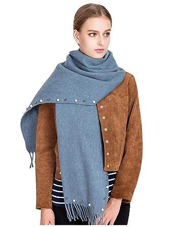 d018dcd7659 DAMILY Hiver Écharpe Chaud Solide Couleur Cachemire Feel Foulard Châle  Élégant Wraps Pour femme (BleuGris)  Amazon.fr  Vêtements et accessoires