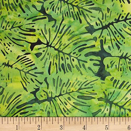 (Northcott Banyan Batik Boho Beach Leaves Dark Green/Lime Fabric by The Yard)