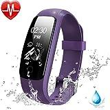 Lintelek Pulsera Inteligente, Monitor de Ritmo cardíaco, sueño, GPS para Correr, Impermeable IP67, Cronómetro, Bluetooth 4.0, Violado