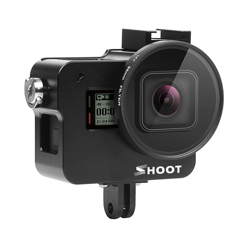 SHOOT Aluminium Legierung Skelett sch/ützende Geh/äuse Case mit 52mm UV Filter f/ür GoPro Hero 7 Black//Hero 6// Hero 5 Action Kamera