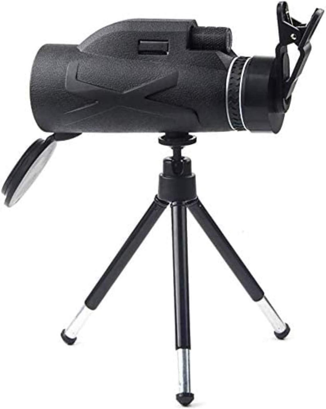 LJYY Telescopio monocular, 80X100 de Alta Potencia y monocular HD con Prisma BAK4, Clip Simple para teléfono móvil + Soporte telescópico de aleación de Aluminio
