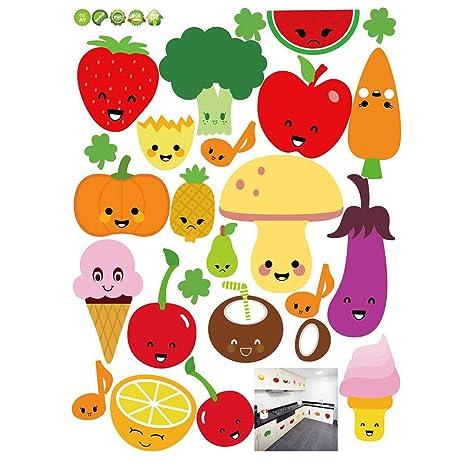 Pegatinas De Pared Extraíble De Dibujos Animados De Frutas Y