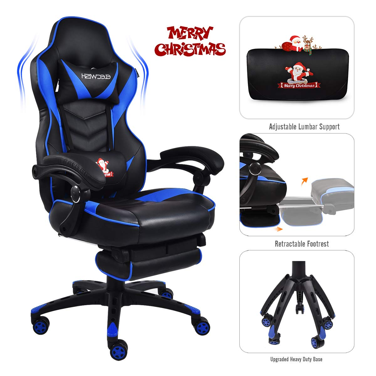 Video Gaming Chair Racing Office – PU Leather High Back Ergonomic Adjustable Swivel Executive Computer Desk Task For Adults Large Size With Footrest,Headrest and Lumbar Support Black blue