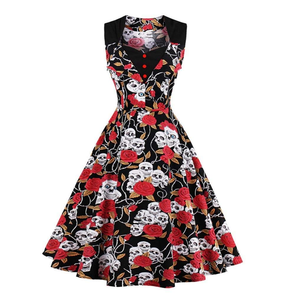 Filfeel Elegant Women's Vintage Slim Dress Skull Print Square Collar Halloween Tutu