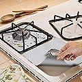 Gas Hob Stovetop Cooker Protectors Sheet Reusable Silver Gas Range Protector Liner Non Stick Sheet Cook Oil Stain protector Stovetop Burner Protectors