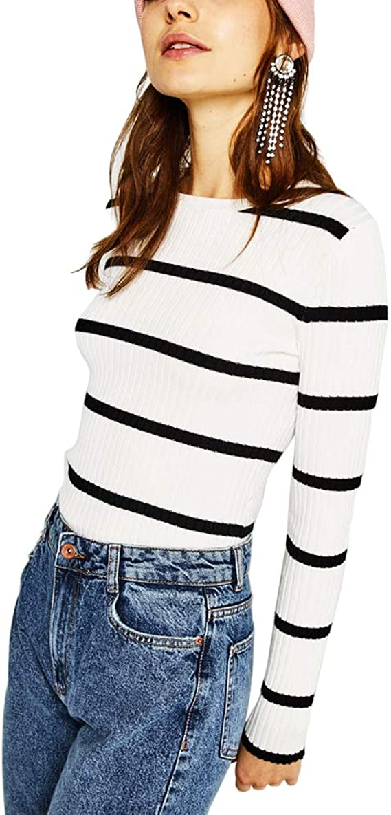 Image of Raya Jerséis Mujer Invierno Blanco Negro Moda Casual Sueter Jersey Pullover Ropa