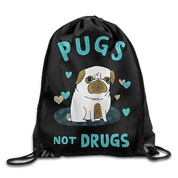 Pugs Not Drogas Lindo Pug Cool cordón Mochila Bolsa de Cuerda: Amazon.es: Deportes y aire libre