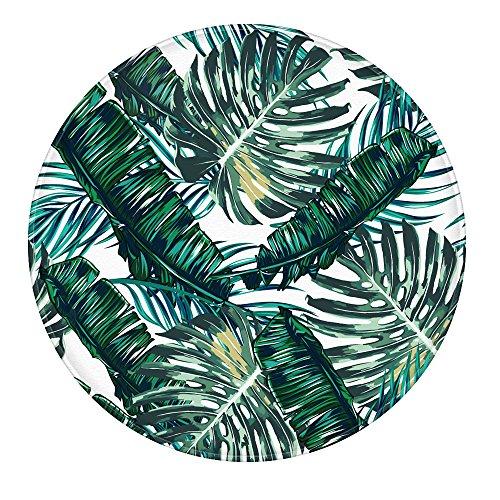 Palm Leaves Bathroom Rug, Uphome Flannel Microfiber 2 Ft Round Non-slip Soft Absorbent Bathroom Kitchen Floor Mat Carpet - Leaves Rug