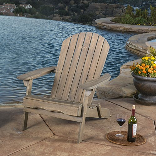 Halley Outdoor Reclining Wood Adirondack Chair with Footrest (1, Grey) ()