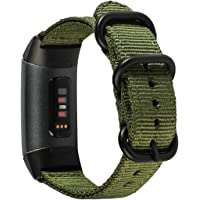 METEQI Bands Woven Nylon Sport Loop Wrist Strap Compatible with Fitbit Charge 3/Charge 3 SE (Army Green)