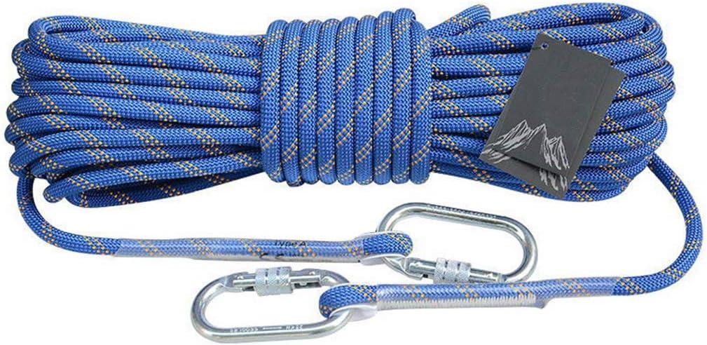 ナイロンパラシュートコード、登山ロープ12mmアウトドアクライミングロープ耐摩耗レスキューロープエスケープロープサバイバル機器(青い),80m  80m