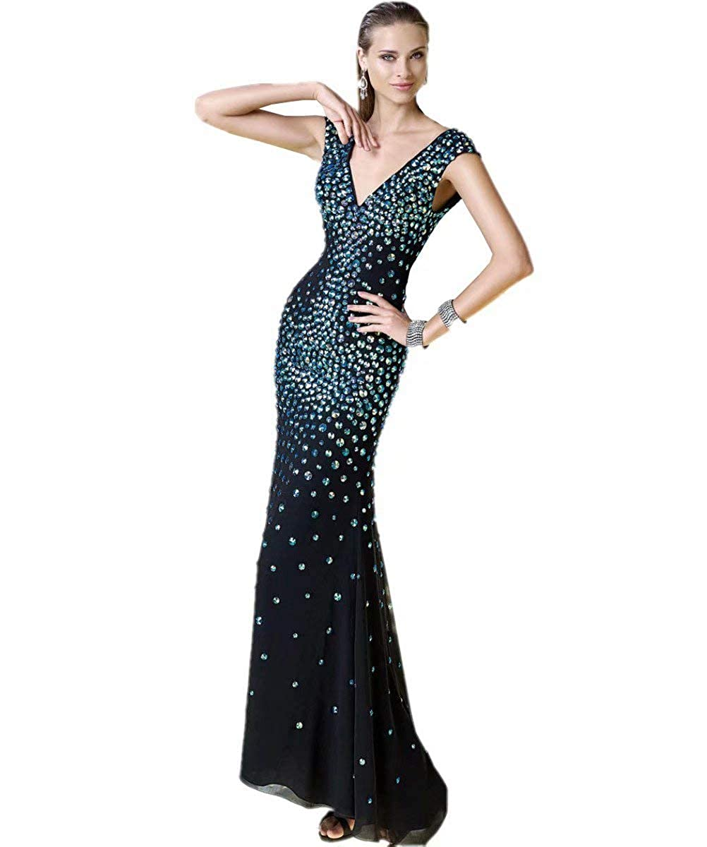 Unions Women Deep VNeck Crystal Beaded Mermaid Prom Dresses Long Formal Evening Gown