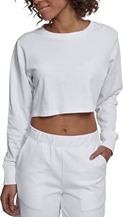 Urban Classics Ladies Terry Cropped Crew Suéter para Mujer