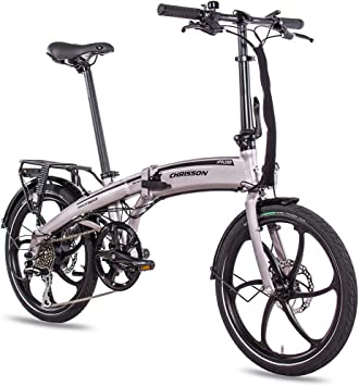 CHRISSON Bicicleta eléctrica plegable de 20 pulgadas, color gris ...