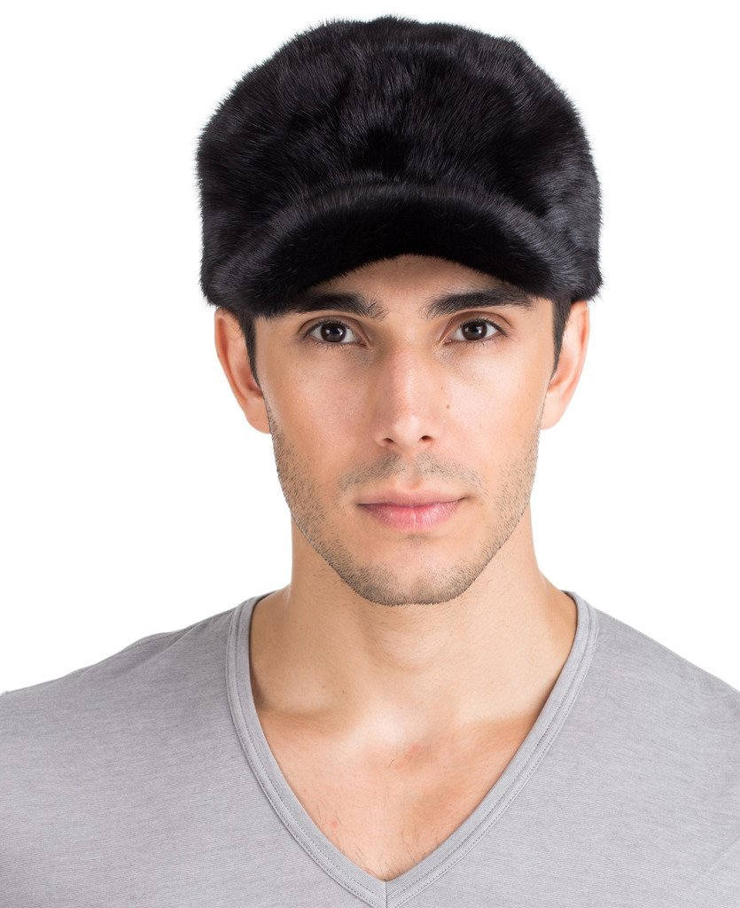 vogueearth Mens Real Mink Fur Warmer Winter Hat Black