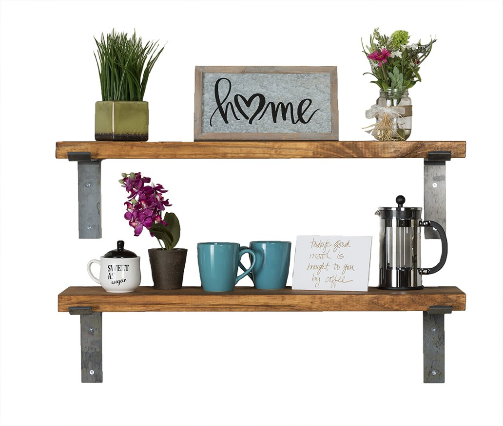 del Hutson Designs - Industrial Shelves w/ Metal Brackets (Set of 2), USA Handmade, Pine Wood (5H x 36W x 10D, Walnut) by del Hutson Designs (Image #1)