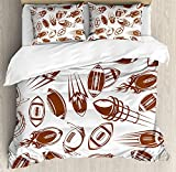 Our Wings Football Comforter Set,Retro Comicbook Style Flying Spinning Balls Motion Trails Bedding Duvet Cover Sets Boys Girls Bedroom,Zipper Closure,4 Piece,Brown White Twin Size