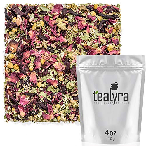 (Tealyra - Botanic Bouquet - Hibiscus - Chamomile - Lemon Verbena - Herbal Loose Leaf Tea - Calming and Relaxing Bed Time - Caffeine Free - All Natural - 112g (4-ounce))