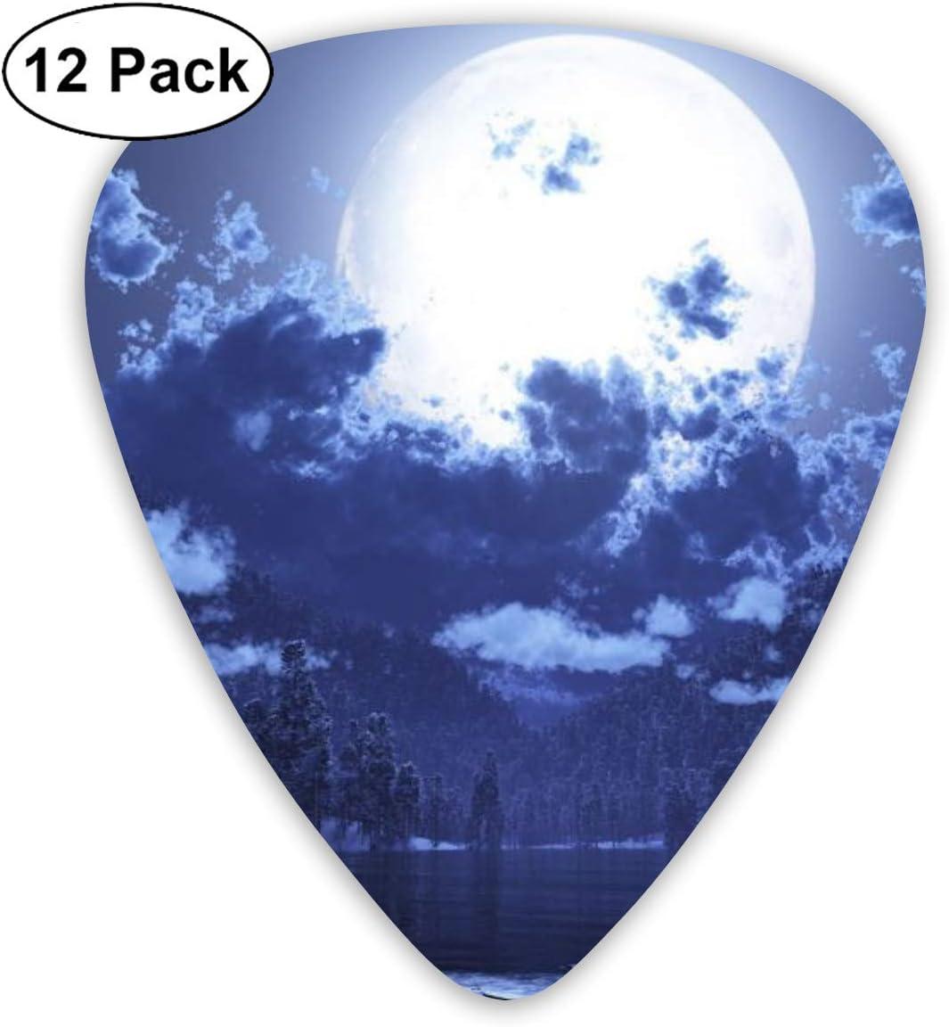 12 Pack Guitar Picks Plectrums With Picks Holder Moon Lake Forest Celluloid Guitar Pick Set For Acoustic Electric Guitar Bass Mandolin Ukulele 0.46mm 0.71mm 0.96mm