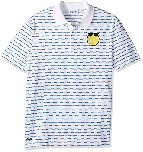 Lacoste Men's Yazbukey Short Sleeve Stripe Pique, Tennis Ball Graphic Polo, White/Thermal Blue, - Yazbukey