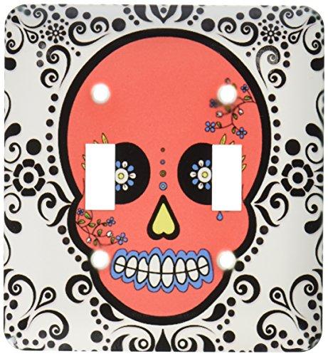 3dRose LLC lsp_28877_2 Day of the Dead Skull Día De Los Muertos Azucarero Rojo Blanco Negro Desplazamiento Diseño Doble...