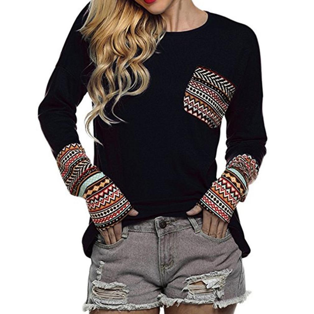 SHOBDW Separación 2019 Moda Mujer Camiseta Manga Larga Labor De Retazos Blusa Tops Cuello Redondo Suelto Primavera Y Verano Ropa Camiseta Talla Grande S-3XL