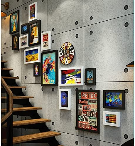 Ali@ 16 Multi Photo Frames Set Industrial Style Living Room Foto Cuadro Pared Cuadro Combinación Escalera Pintura (Color : #A): Amazon.es: Hogar