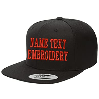4e7f8b74db0 Yupoong Snapback Hat Custom Flat Embroidery Cap Personalized Name Text Flat  Bill Wool - Black