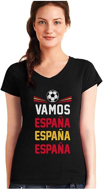 Green Turtle T-Shirts Camiseta de Cuello V para Mujer - Vamos España - Apoyemos a la Selección Española!: Amazon.es: Ropa y accesorios