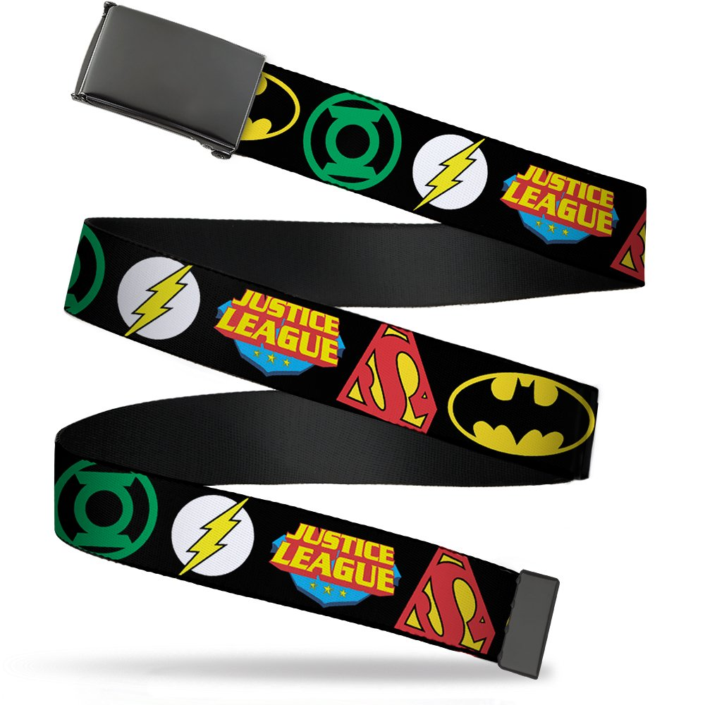Wide-Fits up to 42 Pant Size Buckle-Down Mens Web Belt Justice League 1.5 Multicolor