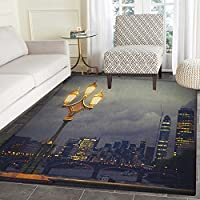 Night Rugs for Bedroom Westminster Bridge London City UK Stormy Moody Weather European Urban Travel Circle Rugs for Living Room 3x5 Pale Grey Yellow