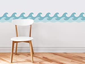 "Sunny Decals Wave Wall Border Fabric Wall Decal (Set of 2), 7.8"" x 24"", Vintage"