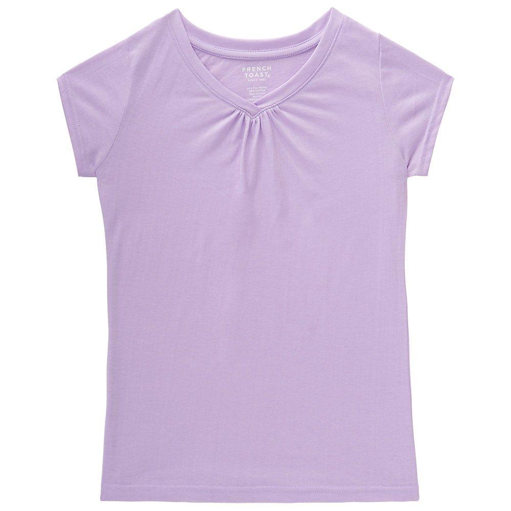 French Toast Girls' Big Short Sleeve V-Neck T-Shirt, Lavendula, Small