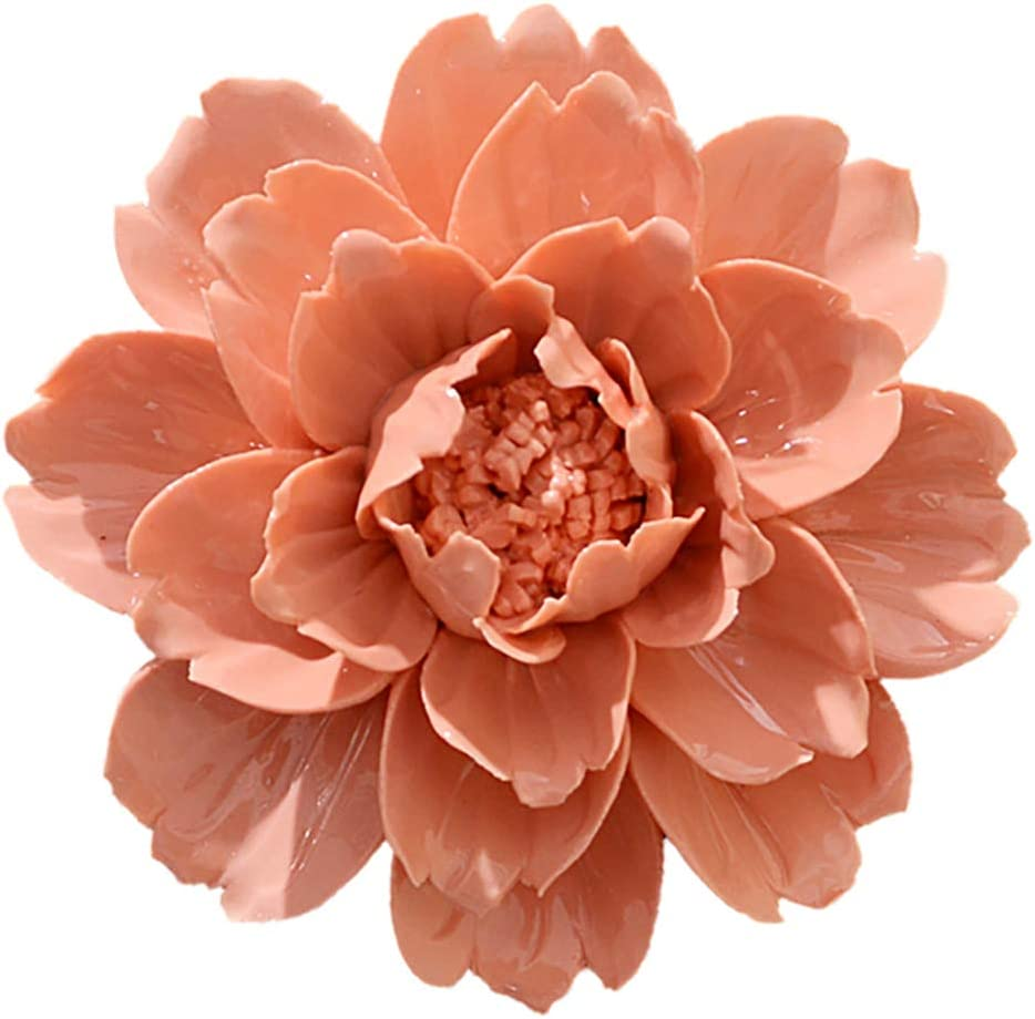 ALYCASO Peony Ceramic Flower Wall Décor Artificial 3D Flower Wall Art for Living Room Home Hallway Bedroom Kitchen Farmhouse Bathroom Dining Room, Orange, 7.08 inch