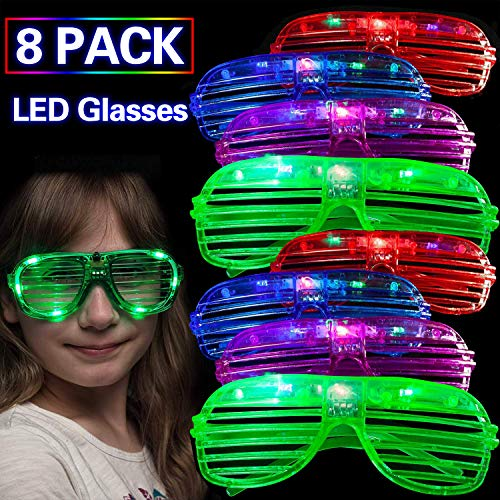 8 Set of LED Glasses, Glow in The Dark Party Supplies Light Up Party Glasses for Neon Party Flashing Rave Sunglasses Summer Party Favor for Kids Adults Birthday School Party Class Rewards -