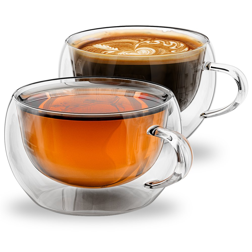 Stone & Mill 2 Glass Tea Cups 7 oz, Insulated Double Wall Coffee Cup AM-09
