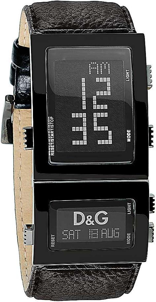 D&G Dolce&Gabbana DW0360 - Reloj Digital de Caballero de Cuarzo con Correa de Piel Negra
