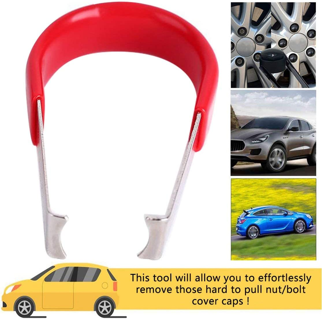 zhouweiwei Car Wheel Tuerca Tornillo Cubiertas Tapa Herramienta para Quitar la Llave Pinzas de Metal